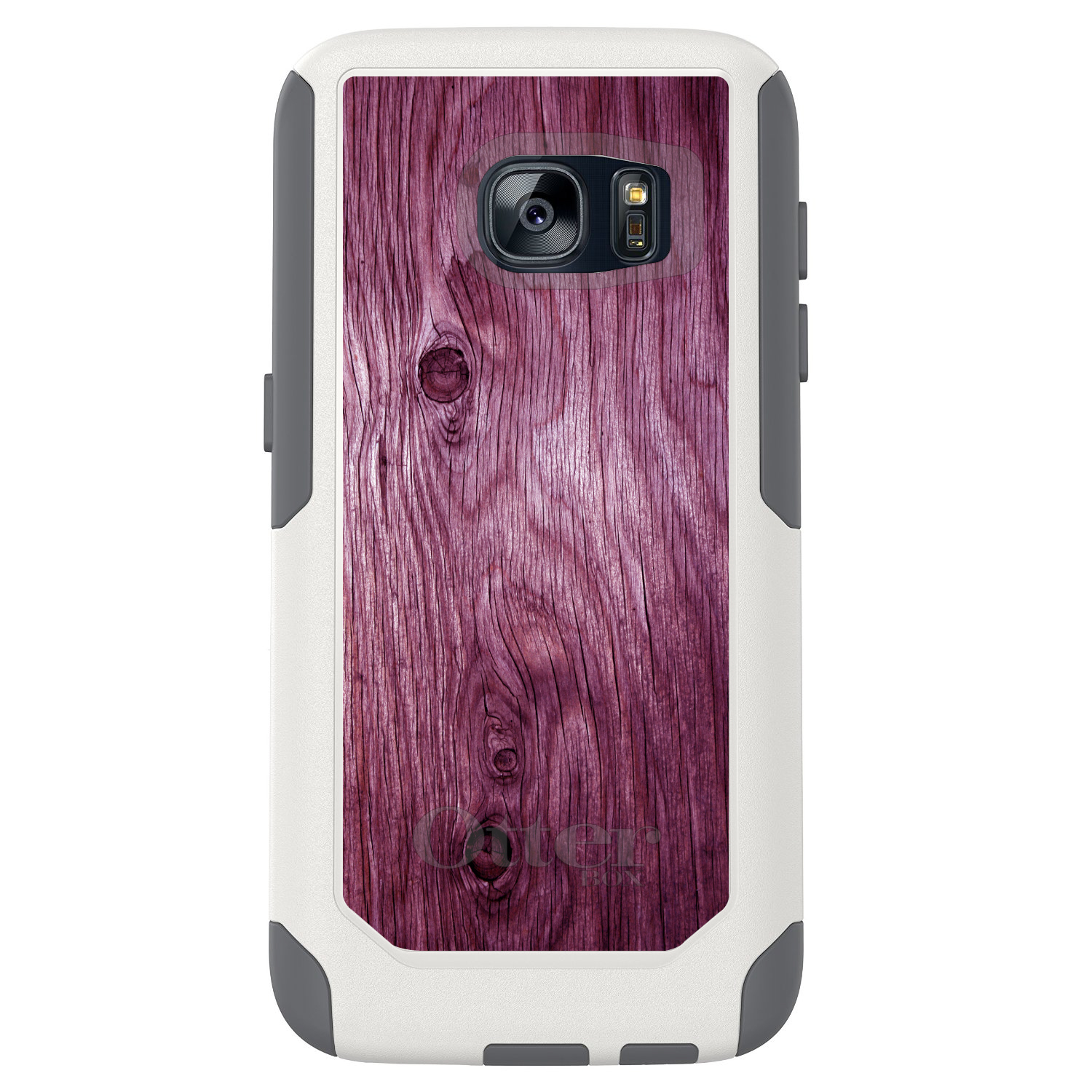 DistinctInk™ Custom White OtterBox Commuter Series Case for Samsung Galaxy S7 - Fuchsia Weathered Wood Grain Print