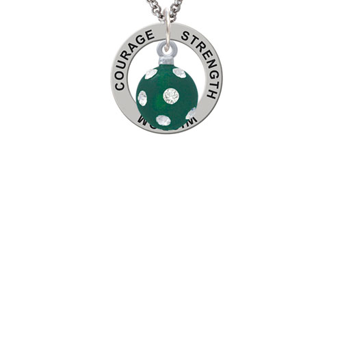 3-D Frosted Green Resin Ornament with Crystals Strength Wisdom Courage Affirmation Ring Necklace