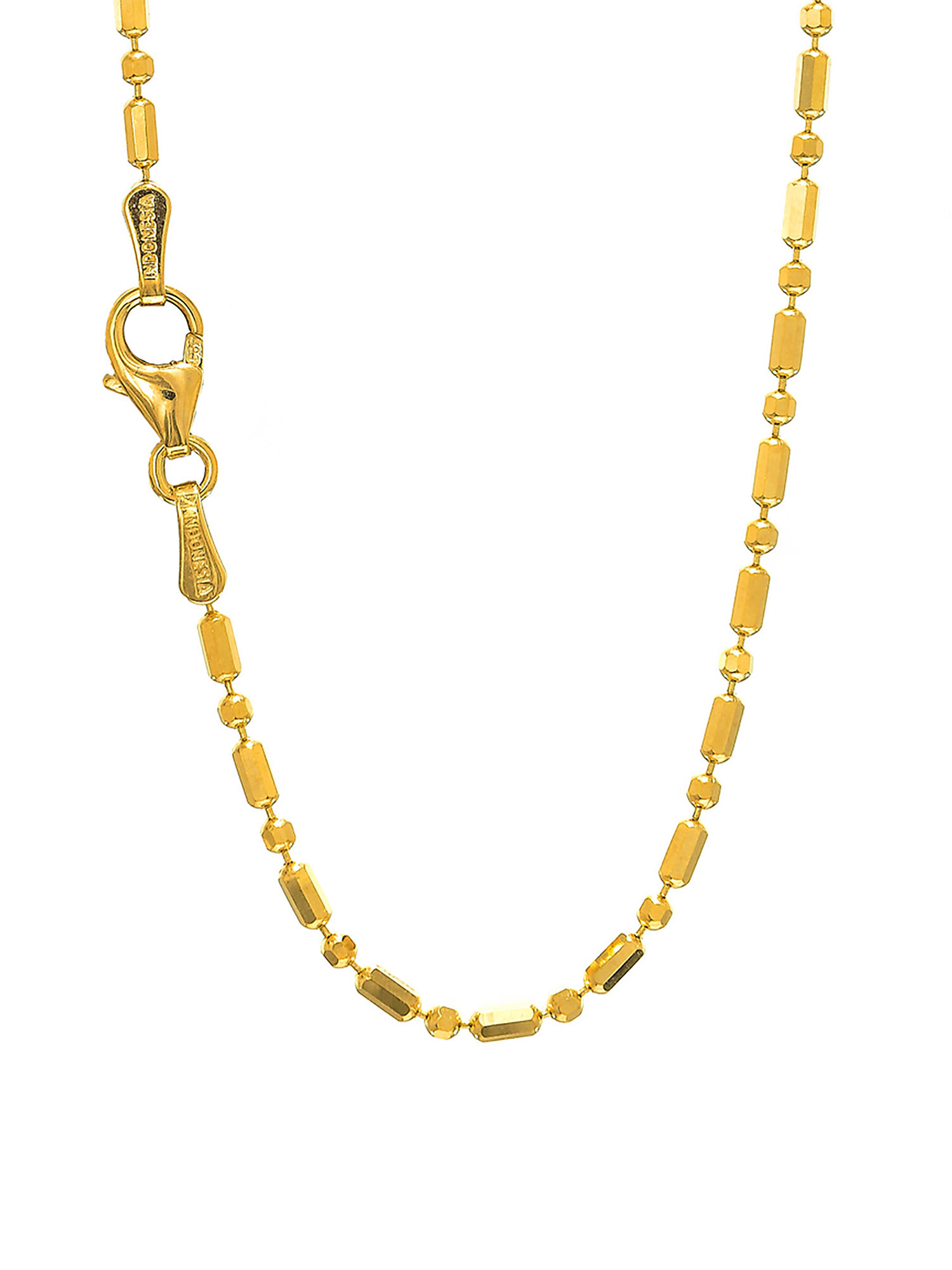 """14k Solid Gold  Yellow Or White 1.5 mm Bar Bead Ball Chain Necklace 16"""" 18"""" 20"""" Lobster Claw Clasp"""