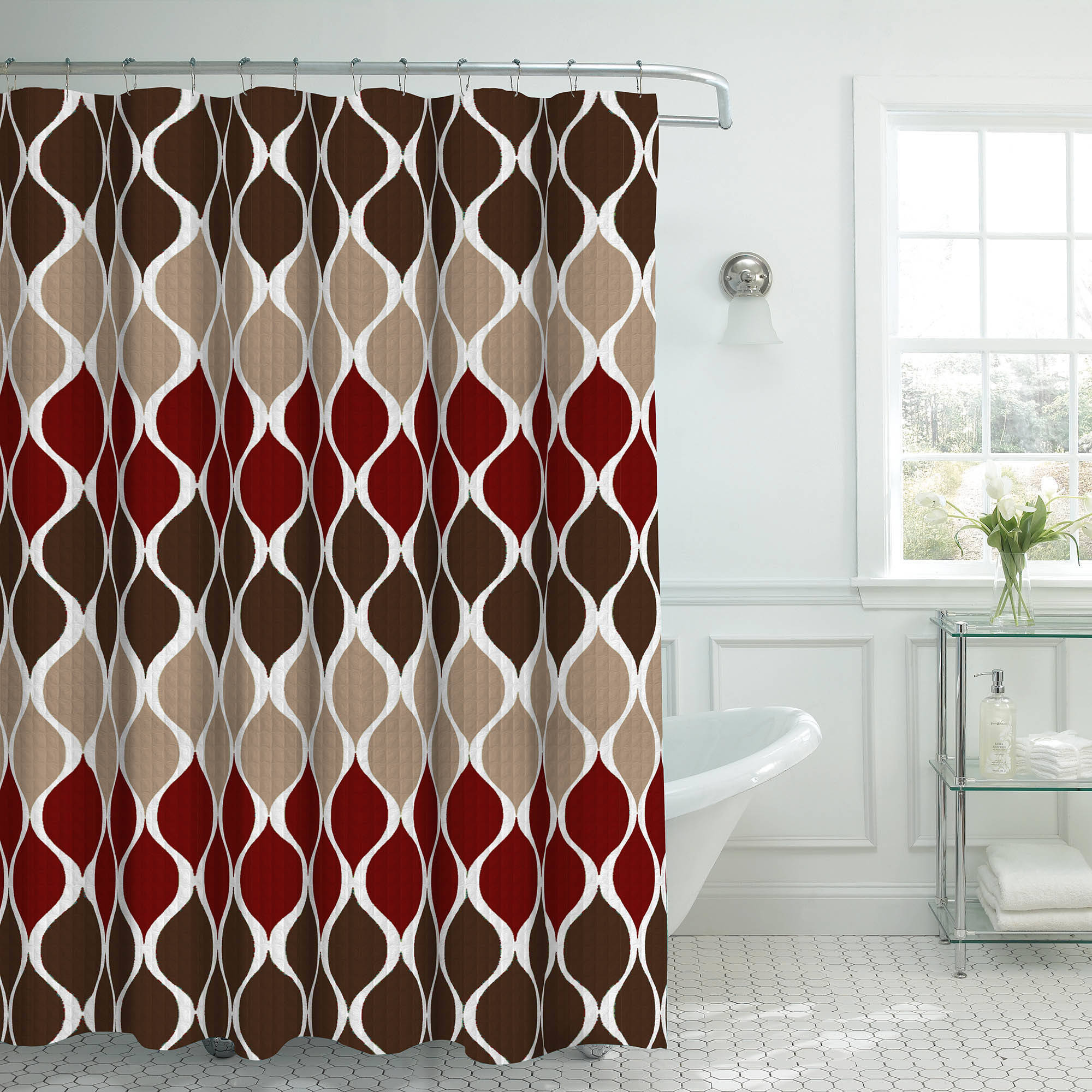 Bounce Comfort Oxford Weave Textured 13-Piece Shower Curtain Set with Metal Roller Hooks, Clarisse Espresso