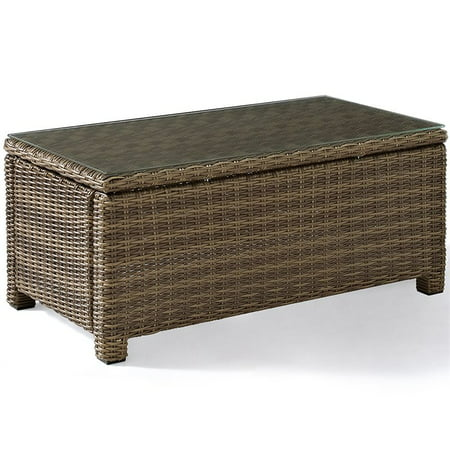 Crosley Furniture Bradenton Outdoor Wicker Glass Top Table Midwest Tropical Coffee Table