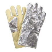 NATIONAL SAFETY APPAREL Heat Resistant Gloves, Silver/Yellow, Thermobest, G64TCSR0114