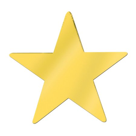 Club Pack of 12 Starry Night Themed Jumbo Gold Metallic Foil Star Cutout Party Decorations 20