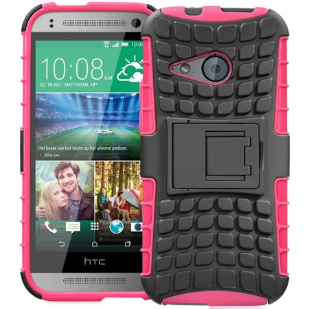 Fosmon  Rugged  Htc One Remix  Htc One Mini 2  Case   Hybo Ragged Heavy Duty Hybrid Protective Cover With Kickstand   Retail Packaging  Hot Pink