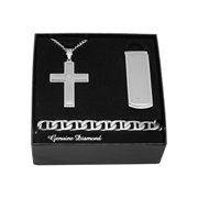 Steel Nation Jewelry Men's Stainless Steel Diamond Accent Cross Pendant, Money Clip, Bracelet - Mens gift box set
