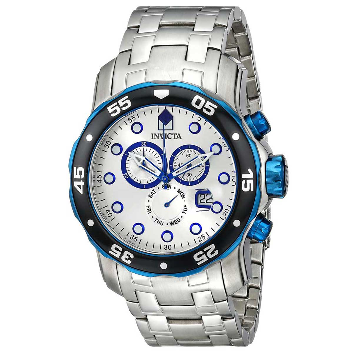 Invicta 80043 Men's Pro Diver Scuba Chronograph Silver Dial Stainless Steel Dive Watch