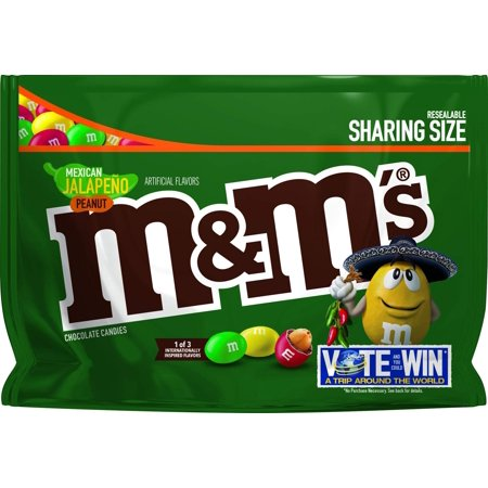M&M's Chocolate Candy Flavor Vote Mexican Jalapeno Peanut Sharing Size, 9.6 Ounce Bag Candy 9 Ounce Bags