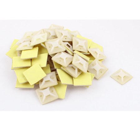 80pcs 30mmx30mm Square Plastic Self-Adhesive Fixing Wire Tie Mount Base - image 1 of 1