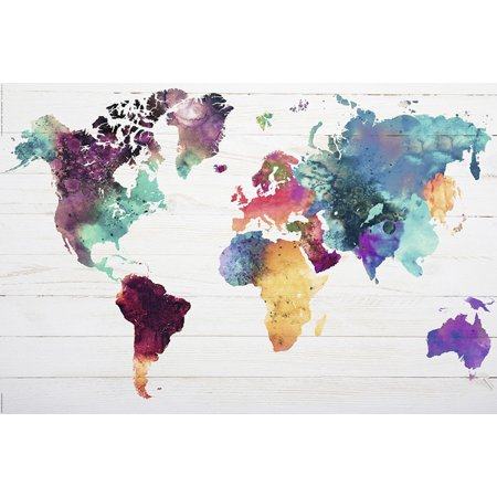Map Of The World - Watercolor Art Poster / Print (World Map) (Size: 36