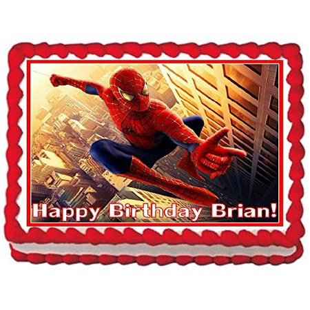 Spider Man Cake (Spiderman Personalized Edible Cake Topper Image -- 1/4)