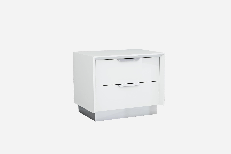 Whiteline Modern Living White Navi Contemporary High Gloss Nightstand Self Close Drawers Walmart Com Walmart Com