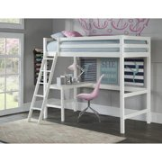 Hillsdale Caspian Study Twin Loft Bed with Desk, Multiple Colors
