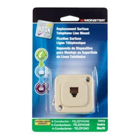 Replacement Surface Mount Telephone Line Jack Modular 4 Conductor Ivory (Surface Mounted Modular Jack)