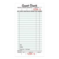 """Adams Guest Check Pads, Single Part, Perforated, White, 3-2/5"""" x 6-1/4"""", 50 Sheets/Pad"""