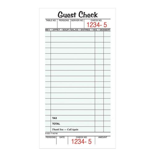 Guest Check, 1-part, 5/PK