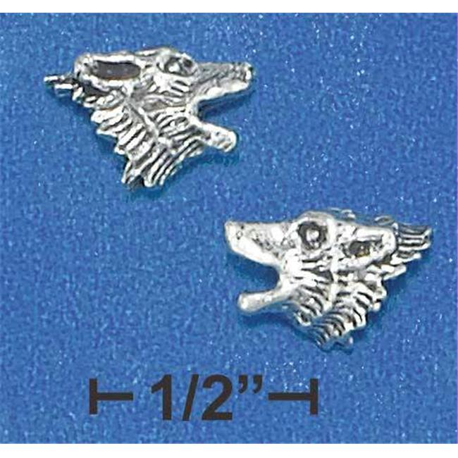 Sterling Silver Mini Howling Wolf Head Earrings On Posts - image 1 of 1
