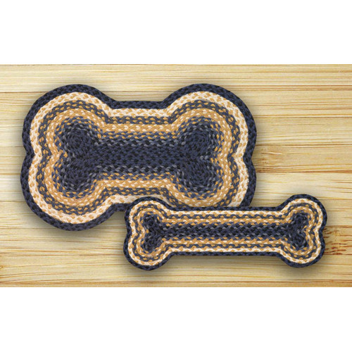 Earth Rugs Light Blue/Dark Blue/Mustard Dog Bone Shaped Rug