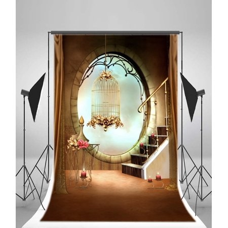HelloDecor Polyster Fairy Tale Backdrop 5x7ft Candles Stairs Oval Stone Window Birdcase Curtain Photography Background Video Studio Props Little Girl Children Baby Kids Portraits