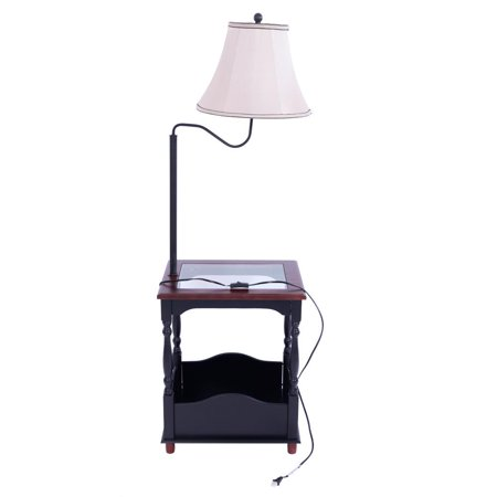 Ktaxon Floor Lamp With Toughened Gl Top Table And Built In Black Combination