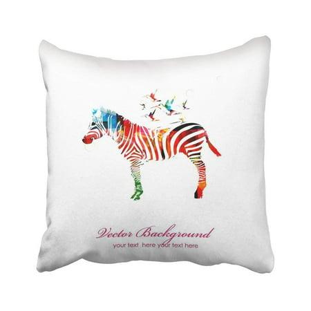 WOPOP Black Idea Colorful Zebra With Hummingbirds White Creative Africa Zoo Fantasy Gallery Pillowcase Throw Pillow Cover Case 18x18 inches (Zebra Centerpiece Ideas)