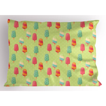 Ice Cream Pillow Sham Delicious Sweet Treats Colorful Summer Theme with Retro Influences Childhood, Decorative Standard Size Printed Pillowcase, 26 X 20 Inches, Multicolor, by Ambesonne