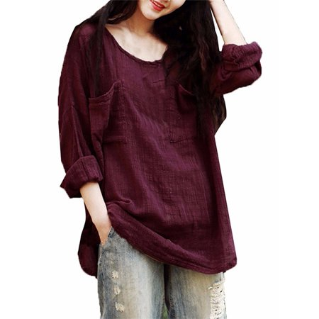 Womens Round Neck Long Sleeve Baggy Two Front Pockets Blouses