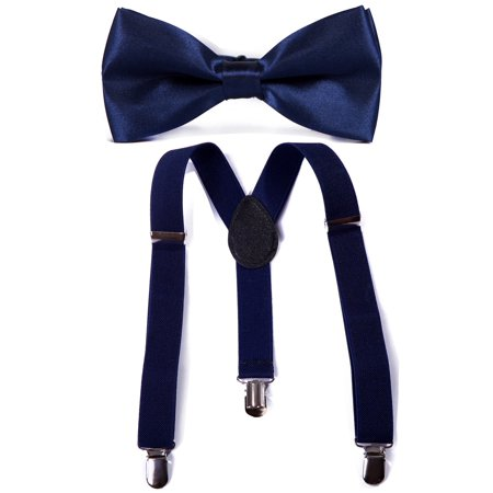 Navy Stripe Boys Tie (HDE Kid Boys Adjustable Y Back Clip Suspenders Matching Pre Tied Bowtie Set (Navy) )