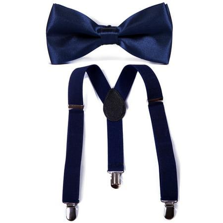 HDE Kid Boys Adjustable Y Back Clip Suspenders Matching Pre Tied Bowtie Set (Navy) - Boys Communion Ties