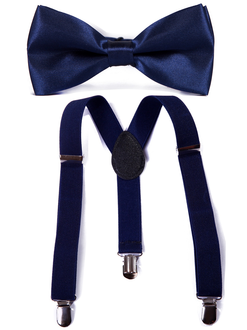 HDE Kid Boys Adjustable Y Back Clip Suspenders Matching Pre Tied Bowtie Set (Navy)