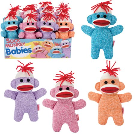Schylling Toys Baby Sock Monkey - Assorted Colors - Super Sock Monkey