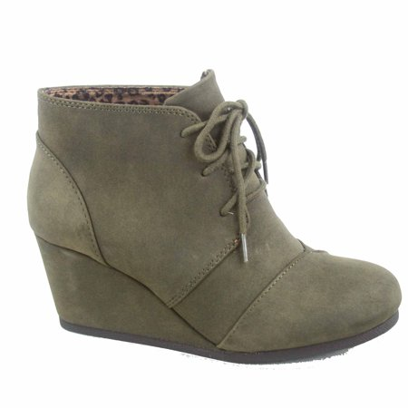 Rex-s Women's Fashion Casual Around Toe Oxford Ankle Booties Lace up Low Wedge Shoes