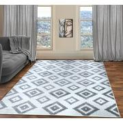 A2Z Trendy 7984 Geometric Modern Small Black White Beedroom Soft Area Rug Tapis Carpet