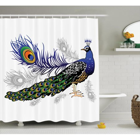 Peacock Decor Shower Curtain Set, Male Peacock Feathers Springtime Wilderness Crowned Majestic Animal Pattern, Bathroom Accessories, 69W X 70L Inches, By Ambesonne](Peacock Accessories)