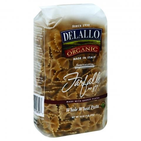 Delallo Organic Whole Wheat Farfalle, 16 Oz