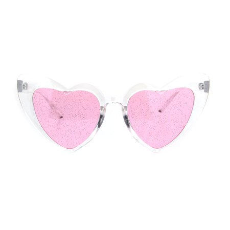 Cats Pink Eye (Womens Glitter Lens Heart Shape Plastic Valentine Cat Eye Sunglasses Clear Pink)