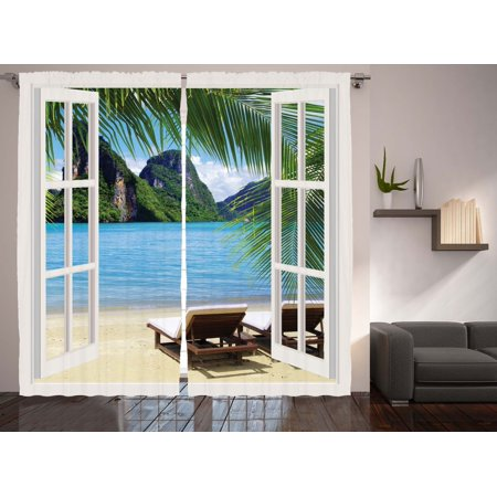 Nautical Palm Tree Decor Ocean Living Room Curtains 2 Panels Set 108x90 Inches ()