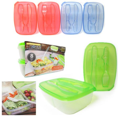2Pc Lunch Box Container Divided Compartment Plate Utensils Food Saver Storage