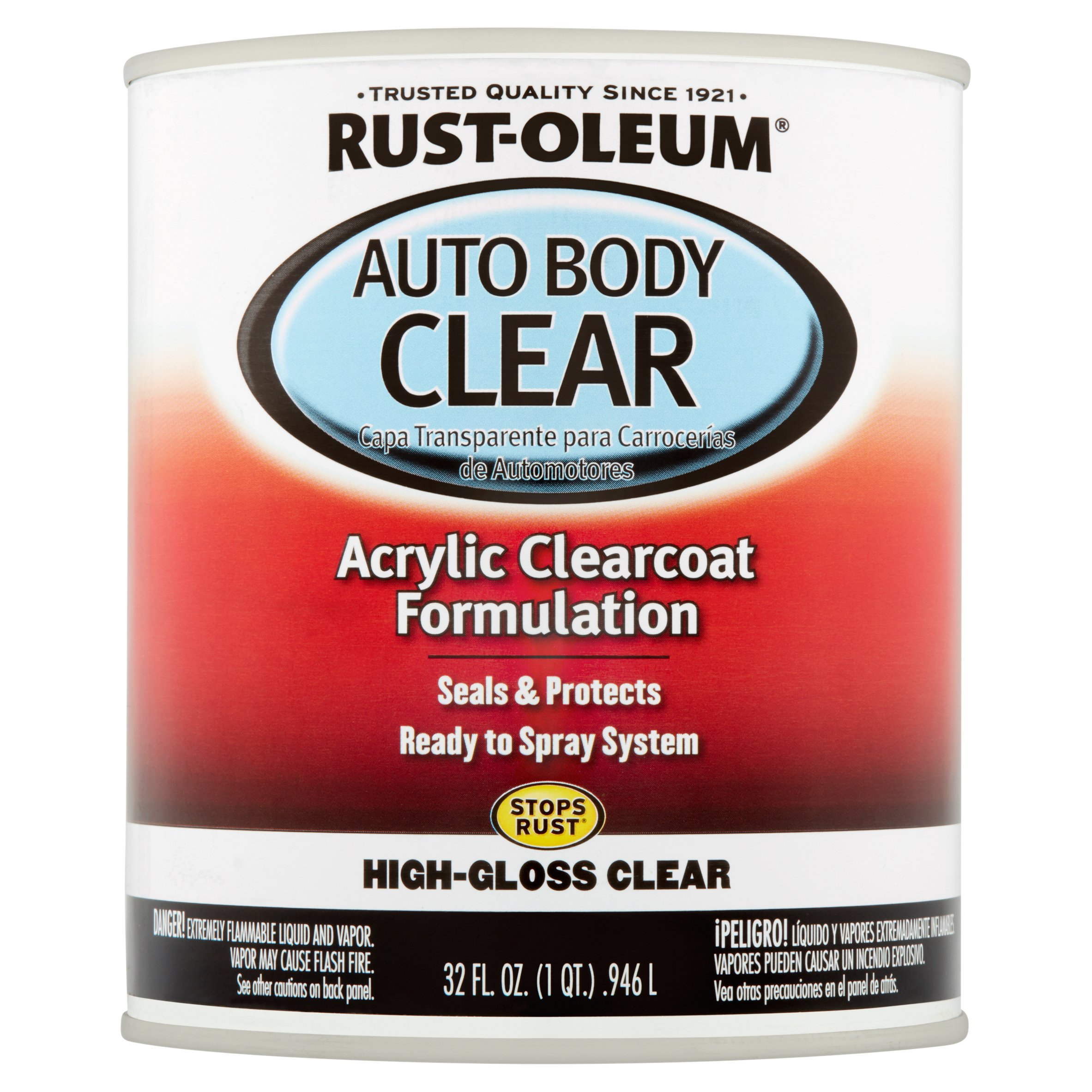 Rust-Oleum Auto Body Clear Acrylic Clearcoat Formulation High-Gloss Clear, 32 fl oz