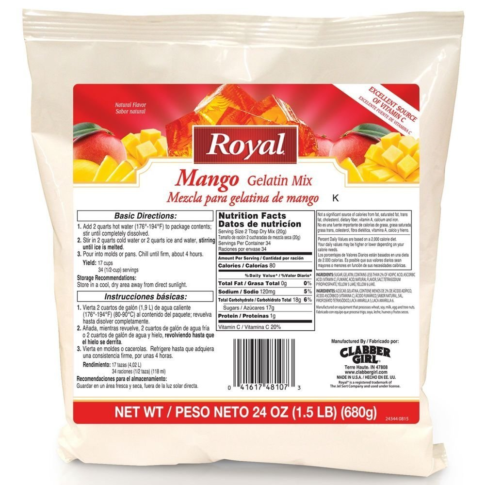12 pack: Clabber Girl Royal Mango Gelatin Mix, 24 oz