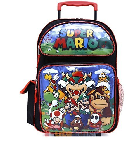 2018 Super Mario School Roller Backpack 16 Rolling Luggage Wheeled Trolley Bag - image 1 of 1