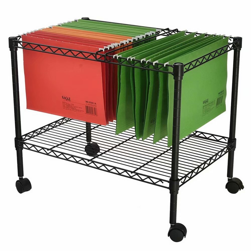 "Akoyovwerve Single Tier Metal Rolling Mobile File Cart 23.6 x 12.6 x 18"" Black"