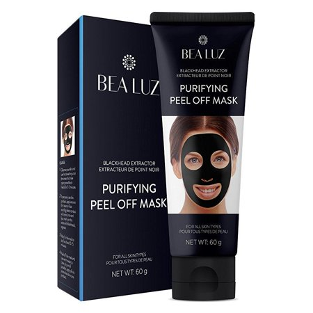 blackhead remover black mask from bea luz, purifying peel off mask with activated charcoal deep pore cleanse for acne, oil control peel-off mask 60g (Sound Activated Mask)