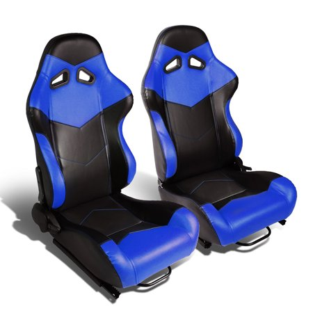 Set of 2 Arrow Design Type-R PVC Leather Reclinable Racing Seats w/ Universal Sliders (Black Body/Blue Side)