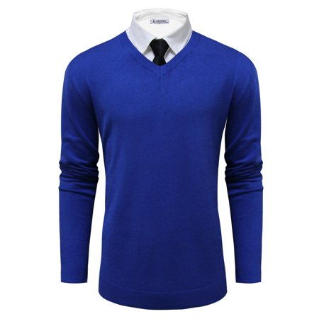 Mens Classic V-neck Sweater - TAM WARE Mens Classic V-Neck Long Sleeve Sweater