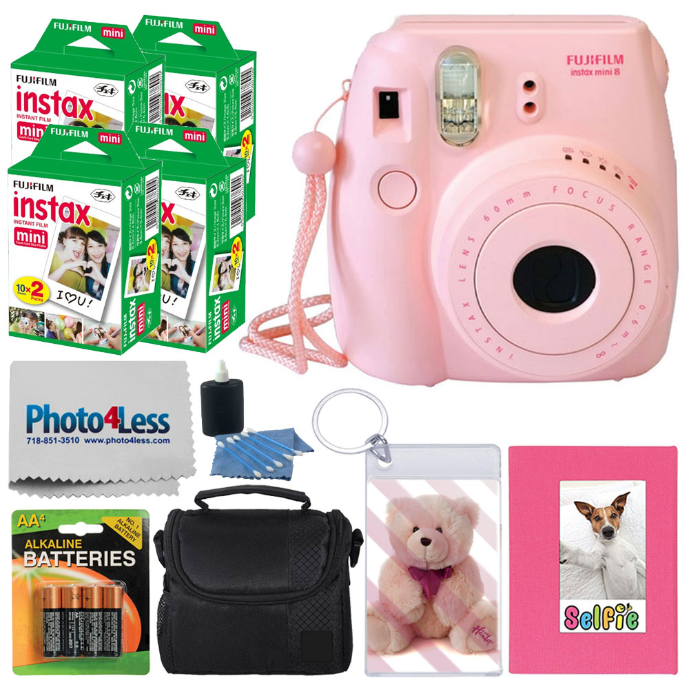 FujiFilm Mini 8 Instant Film Camera (Pink) + Mini Twin Pack Instant Film (80 Shots) + Selfie Photo Album +... by Fujifilm