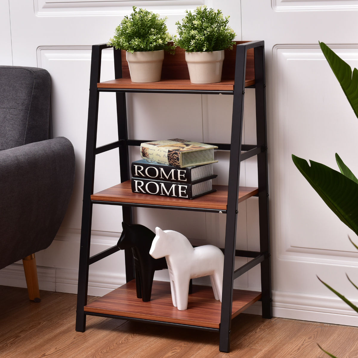 Costway 3 Tier Ladder Storage Book Shelf Wall Bookcase Bundle Modern Floor Decor