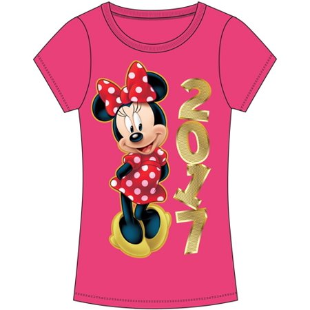 e2b51aa0f42d Disney - Youth 2017 Dated Minnie Mouse Golden Fashion Shirt Fuschia Pink -  Walmart.com