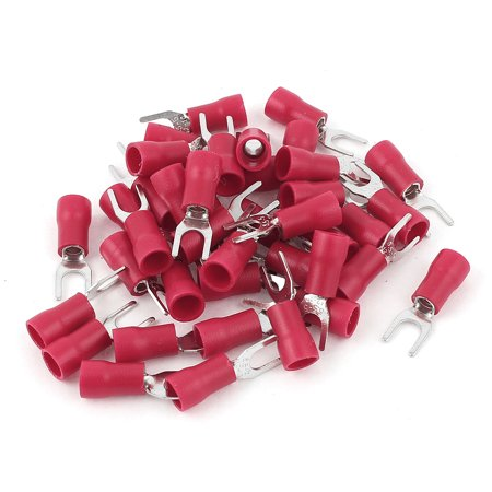 40 Pcs Red Electrical Crimp Wire Connector Insulated Fork Terminals 4-6mm2