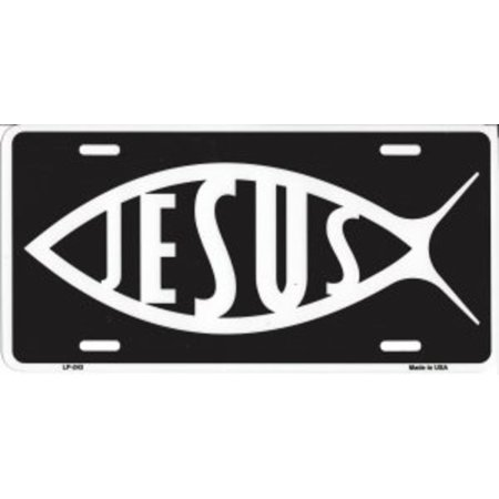 White Jesus Fish On Black License Plate - image 1 de 1