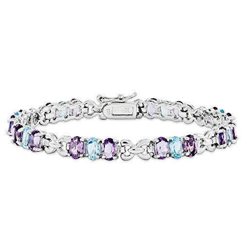 .925 Sterling Silver Amethyst and Blue Topaz Bracelet 7.25 Inches by SSQGold-Tennis-Bracelets